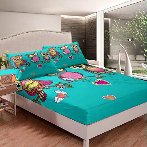 Juego de cama con diseño de búhos bohomian Bird Wildlife - Juego de sábanas para niños y niñas y adolescentes