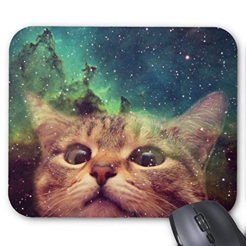 cat Staring into Space mouse pad Custom Mouse Pad Waterproof Material Non-Slip Rubber Mouse Pad(9.45x7.87x0.08inch) for Office Desktop or Gaming Mouse Mat Keyboard Pad