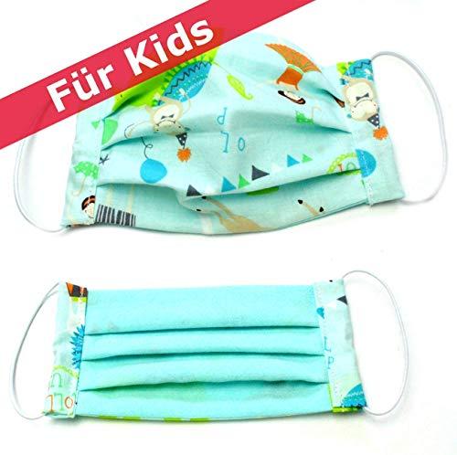 Mund-Nasen-Maske für die Kleinen, 100% Baumwolle, mint, waschbar bei 60 °
