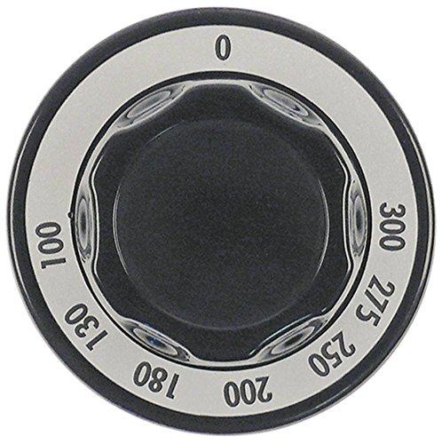 Knebel für Thermostat Achsabflachung universal ø 70mm schwarz für Achse 6x4,6mm max. Temperatur 300°C Symbol Thermostat