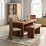 Roundhill Sheesham Wood 6 Seater Dining Table for Living Room Home Hall Hotel Dinner Restaurant Wooden Dining Table Dining Room Set Dining Table with 4 Chairs and 1 Bench Furniture for Home