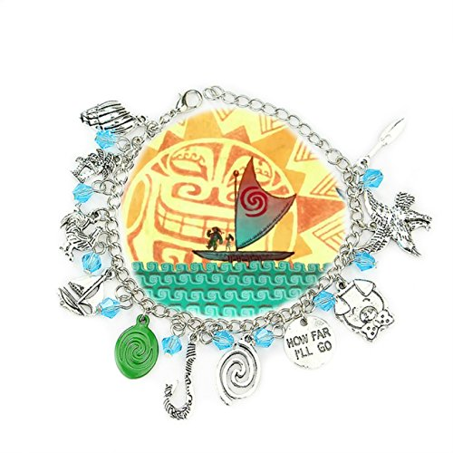Point Central Collectibles Disney's Moana Princess ( 11 Themed Charms) Assorted Metal Charm Bracelet