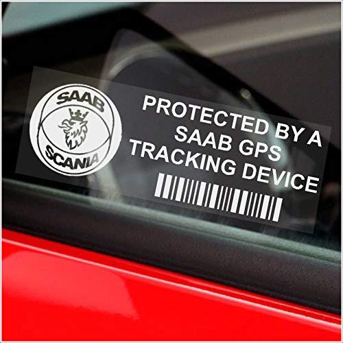 Platinum Place 5 x SAAB GPS Tracking Device Security Window Stickers 87x30mm-9-3 9-5 9000 9-7X 9-4X-Car,Van Alarm Tracker