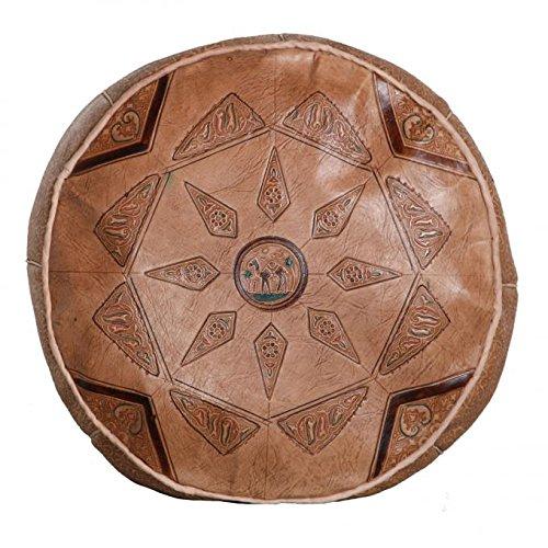 Casa Moro Orientalisches Leder Sitzkissen marokkanischer Pouf Kamel 01 braun Ø 40 cm Sitzhöhe 25 cm | Inklusive Füllung Sitzpouf | Echt-Leder Sitzhocker aus Marrakesch | MO4206
