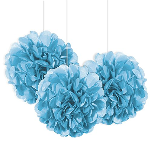 Unique Party 64219 - 23cm Small Baby Blue Tissue Paper Pom Poms, Pack of 3