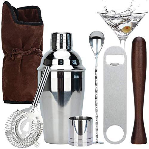 Lychee Shaker Cocktail Set Professional con Borsa di stoccaggio,7 Pezzi Kit da Barman in Acciaio Inox Professionale 350ml Shaker,Perfetto per Casa,Party con Amici