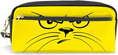 Kuizee Pencil Bag Pen Case Cartoon Unhappy Cat Face Zipper Stationery Pouch Bag School Office Students PU Leather Durable 7.8 Inch
