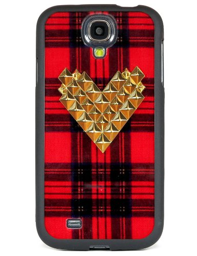 Wildflower Cases Cute Gold Studded Heart Samsung Galaxy S4 Case - Retail Packaging - Red Tartan Plaid