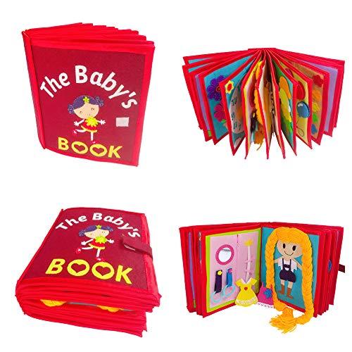 Babybuch Stoffbuch, Soft Bilderbuch Entdeckungsbuch Baby Spielzeug, Früh Lernen Lernspielzeug, Quiet Book Aus Weichem Filz Mit Interaktiven Seiten, Stärkung Der Eltern-Kind-Beziehung Für Kleine Kinder