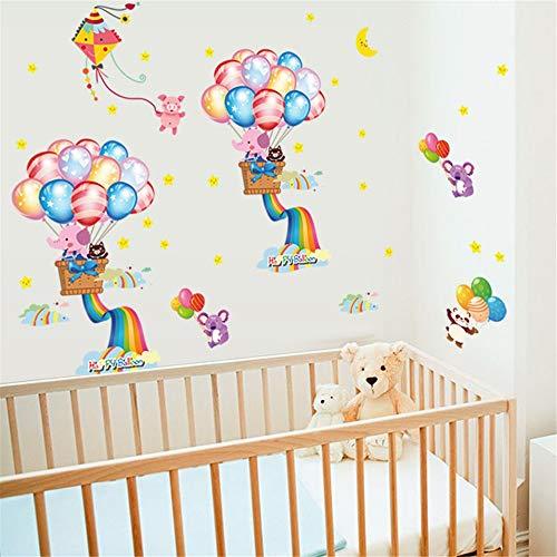 Muursticker kleurrijke ballon regenboog olifant cartoon dier kinderkamer kleuterschool klaskamer decoratie