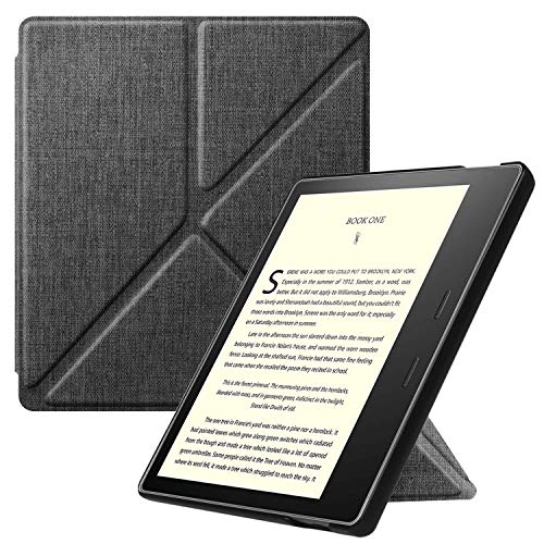 Fintie Kindle Oasis 第10世代 2019 Newモデル / 第9世代 2017 専用保護ケース 軽量 薄型 マグネット機能 オートスリープ機能 折り紙式スタンド PUレザー 保護カバー 開閉式カバー(デニムグレー)
