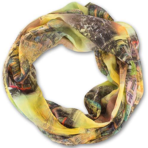 fashionchimp ® Loop Schlauchschal für Damen mit City-Print Muster, Baumwolle und Viskose, XXL Schal (Gelb)