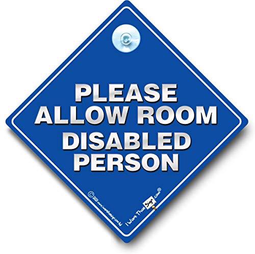 """Auto-Schild mit Saugnapf, Aufschrift """"Please Allow Room Disabled Person"""""""