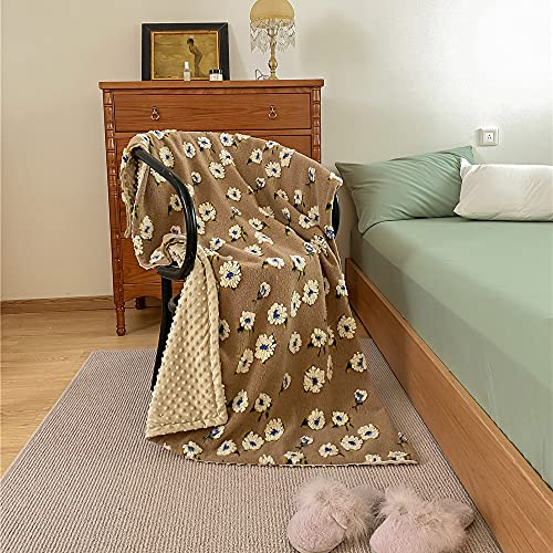 DUYH Manta de Lana Gruesa Retro , Adecuada para Siesta de Oficina Individual, Manta para Niños, Cama y Mantas de Sofá. (Beige, 150 × 200cm)