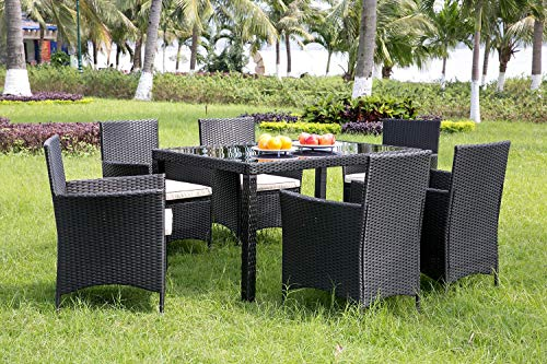 Pieces Garden Dining Set, 1 Table and 6 Chairs, Outdoor Garden Rattan Furniture Set with Rectangular Glass Top Weatherproof Wicker Rattan Outdoor Conservatory 6 Seater Patio Furniture Set (Black)