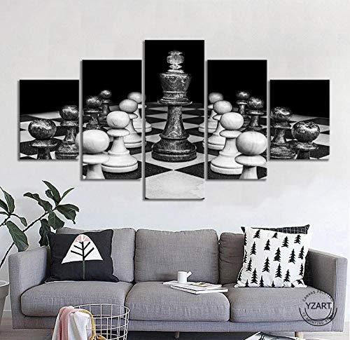 baixiangguo Ajedrez Cuadros Decoracion Salon 5 Piezas Carteles Impresos Sala De Estar Decoración del Hogar Lienzo Modular Imágenes Arte De La Pared -100 x 55 cm