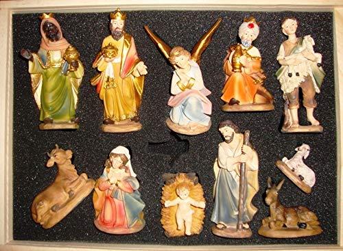 Krippenfiguren 12 er SET HANDBEMALT in edler Echtholz - Optik für Holz Weihnachtskrippe Zubehör, MIT HOLZ-BOX KFK-Box - saubere Gesichtszüge, feine Mimik, handbemalte Krippenfiguren, Zubehör