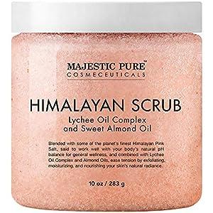 Majestic Pure Himalayan Salt Body Scrub with Lychee Oil, Exfoliating Salt Scrub to Exfoliate & Moisturize Skin, Deep Cleansing - 10 oz