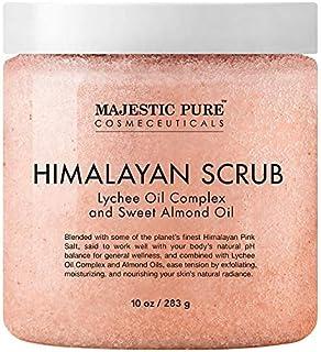Majestic Pure Himalayan Salt Body Scrub with Lychee Oil, Exfoliating Salt Scrub to Exfoliate & Moisturize Skin, Deep Clean...