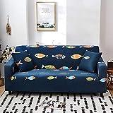 Funda Elástica de Sofá Cubre Antideslizante/Protector Ajustables de Sofá, Decorativas Fundas Arenque Azul Impresa -para Sofas, con Cuerda de Fijación (4 Plazas:225-290cm)+1 Fundas de Almohada