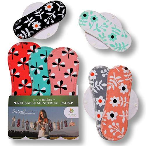 Waschbare Stoffbinden aus Baumwolle, 7er Pack Wiederverwendbare Damenbinden MADE IN EU, Reusable Sanitary Pads, dünn wieder Bio Stoff Binden für Menstruation, Inkontinenz,starke postpartale Blutung