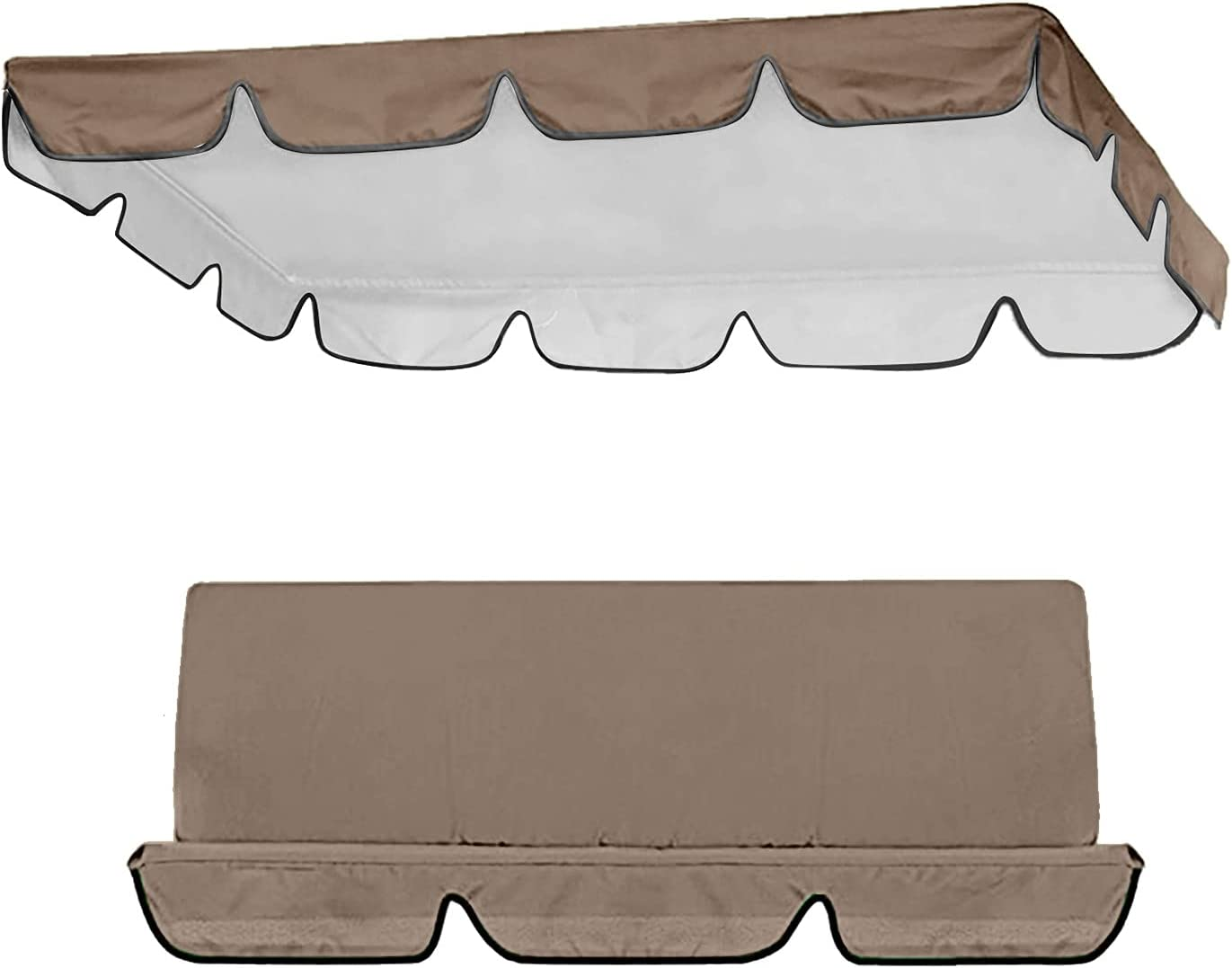 Patio Swing Canopy Replacement Cushions & Cover - Replacement Cover for Swing Canopy, Swing Replacement Canopy and Chair Cover, Garden Seater Sun Shade Porch Swing Replacement Cushions