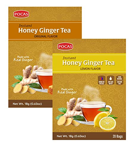 Pocas Instant Honey Ginger Tea Original + Mint, Date, Ginseng, Cinnamon, Turmeric, Green Tea, Lemon or Soursop - 40 Bags (Original + Lemon (2Box, 40bags))