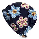 Lsjuee Gouache Pintura Flores Sombrero de punto Gorros Calavera Calva para Hombres Mujeres