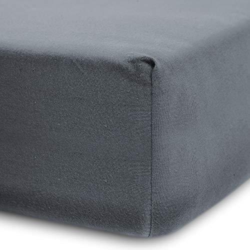 Lumaland Luxury Jersey Spannbettlaken für Wasserbett und Boxspringbett 100 % Baumwolle mit Rundum-Gummizug 140-160 x 200-220 cm Frostgrau