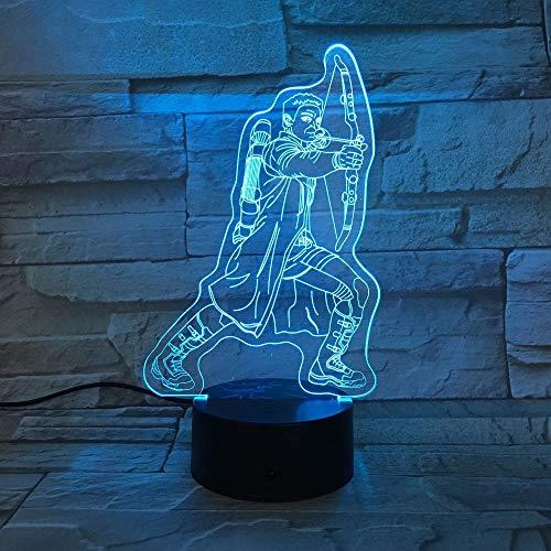 Lámpara de mesa en forma de arco y flecha 3D, decoración creativa del hogar, LED multicolor, luz nocturna, regalo para niños, lámparas para dormir