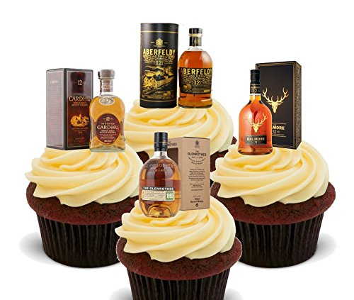 Single Malt Whisky Mix, Edible Cake Decorations - Stand-up Wafer Cupcake Toppers