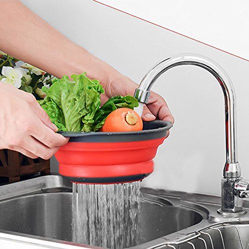 Collapsible Colander Set, 2 PCS Silicone Colander Strainer with Extendable Handles Over The Sink, Kitchen Folding Food Basket Mesh Strainers for Draining Pasta, Vegetable, Fruit (Red)