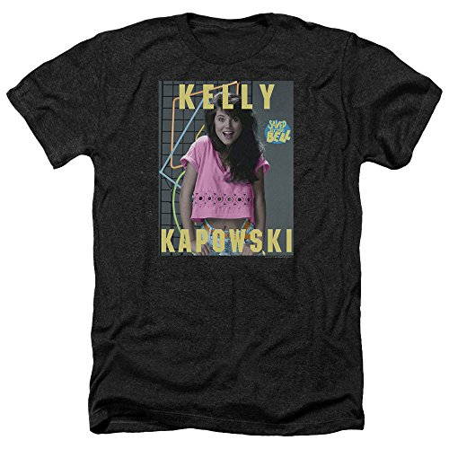 Saved by The Bell Kelly Kapowski Unisex Adult Heather T Shirt for Men and Women, X-Large Black