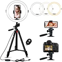 GooFoto Ring Light with Stand and Phone Holder Dimmable Circle