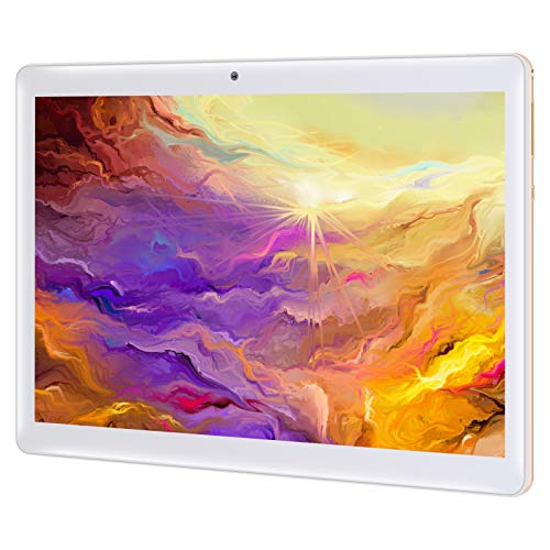 Qimaoo Tablet 10 Zoll Android 10.0, 4 GB RAM 128 GB ROM, Octa Core Prozessor, 4G LTE Dual SIM, HD (1280 x 800), 6000mAh Akku, WiFi/Type C/GPS/Bluetooth 4.0 Tablets (Gold)