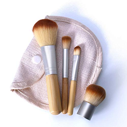 MEIYY Pinceau De Maquillage 4 Pcs Bambou Brosse Fondation Pinceau Pinceaux De Maquillage Pinceau Cosmétique Visage Poudre Pour Maquillage Beauté Outil