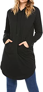 Women Hooded Sweatshirt Tunic Dresses Long Sleeve Loose Fitting Pullover Tops with Pockets