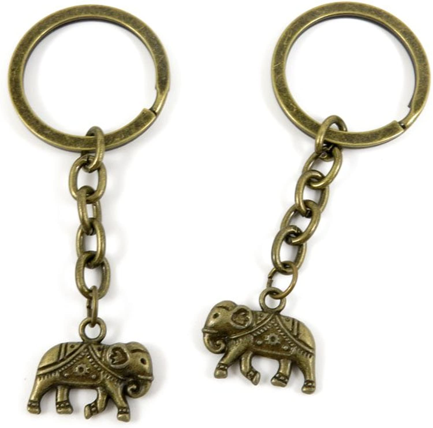 100 PCS Keyrings Keychains Key Ring Chains Tags Jewelry Findings Clasps Buckles Supplies L5YB6 Thai Elephant