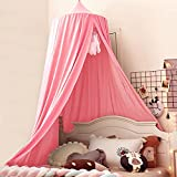 Kertnic Decor Canopy for Kids Bed, Soft Smooth Playing Tent Canopy Girls Room Decoration Princess Castle, Dreamy Mosquito Net Bedding, Children Reading Nook Canopies in Home (Nordic Pink)