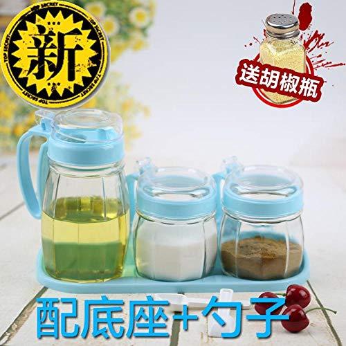 condimento box Shaker di olio e sale Ciotola di zucchero Conchiglia Bottiglia di vetro trasparente Scatola di condimento a tenuta stagna Set-Blu 1 vaso olio + 3 vaso condimento + base