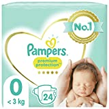 Pampers Couches Premium Protection Taille 0 (<3kg) notre N°1 pour la protection des peaux sensibles, 24 Couches
