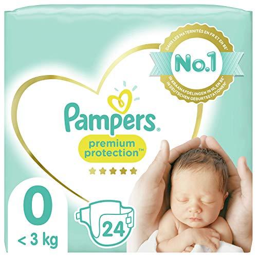 Pampers Couches Premium Protection Taille 0 (<3kg) notre N°1 pour la protection des peaux sensibles, 24 Couches