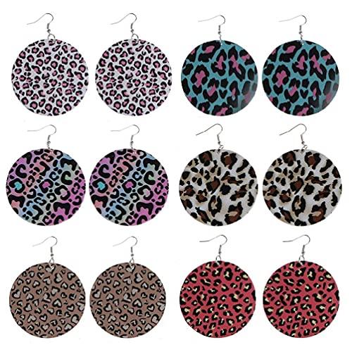 6 pares de pendientes de piel de leopardo dibujados a mano en ambos lados de impresión de madera con bucles de gota para mujeres regalos