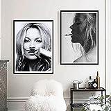 nr Kate Moss Rauchen Mode Poster Wandbild Kunstwerk,