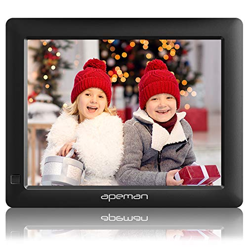 APEMAN Digital Photo Frame 8 Inch with 1280x800 High Resolution with Background Music, Motion Sensor, Photo Auto-Rotate, USB and SD Card Slots and Remote Control