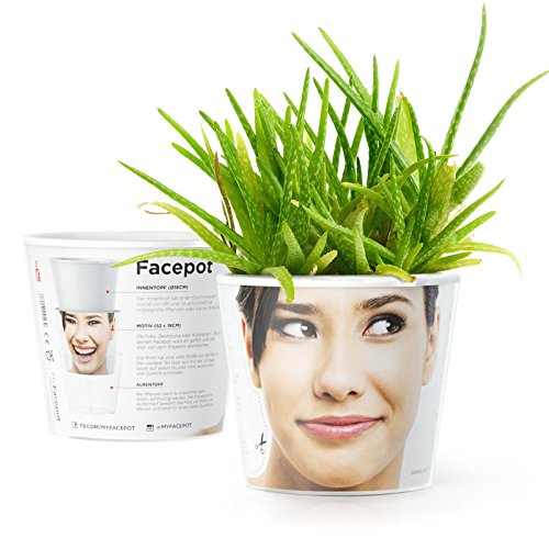 Facepot Lustige Geschenke mit Foto - Blumentopf (ø16cm) - Geschenkidee Geburtstagsgeschenk für Männer, Frauen, Kollegen selbst gemacht mit Vorlage (A4)