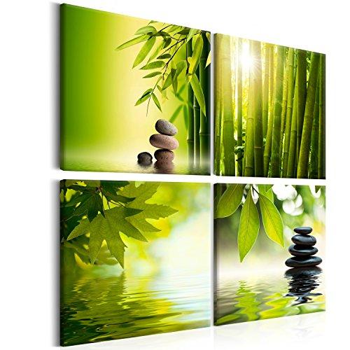 murando - Bilder Zen 80x80 cm Vlies Leinwandbild 4 Teilig Kunstdruck modern Wandbilder XXL Wanddekoration Design Wand Bild - Natur Wasser Bambus Steine grün 9060095