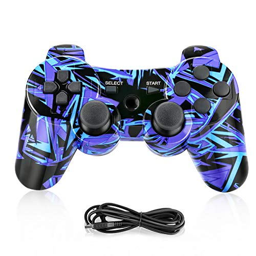 PS3 Controller,Powcan Wireless Controller für PS3,Bluetooth Gamepad Joystick,Dual-Vibration 6-Achsen Gaming Controller mit Ladekabel für PS3 Controller PC und Windows 7/ 8/ 9/ 10