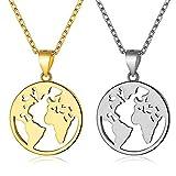 Mundo Colgante Mapa - WENTS 2Pcs Hombres y Mujeres con Cadena Extensible Colgantes Medallas Redondas Hueco Mapa del Mundo Global Colgante Collar Cadena de Clavícula