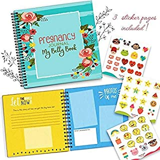My Belly Book Pregnancy Journal and Baby Memory Book with Stickers - Baby's Scrapbook and Photo Album - Perfect 9 Months Journey Gift for First Time Moms - Picture and Milestone Books for Toddlers
